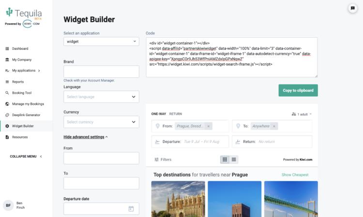 widget builder kiwi.com
