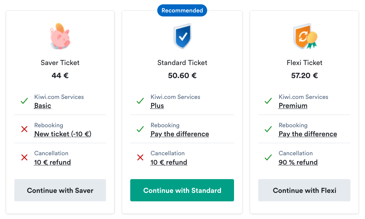 Kiwi.com introduces Virtual Fare Types on its booking page