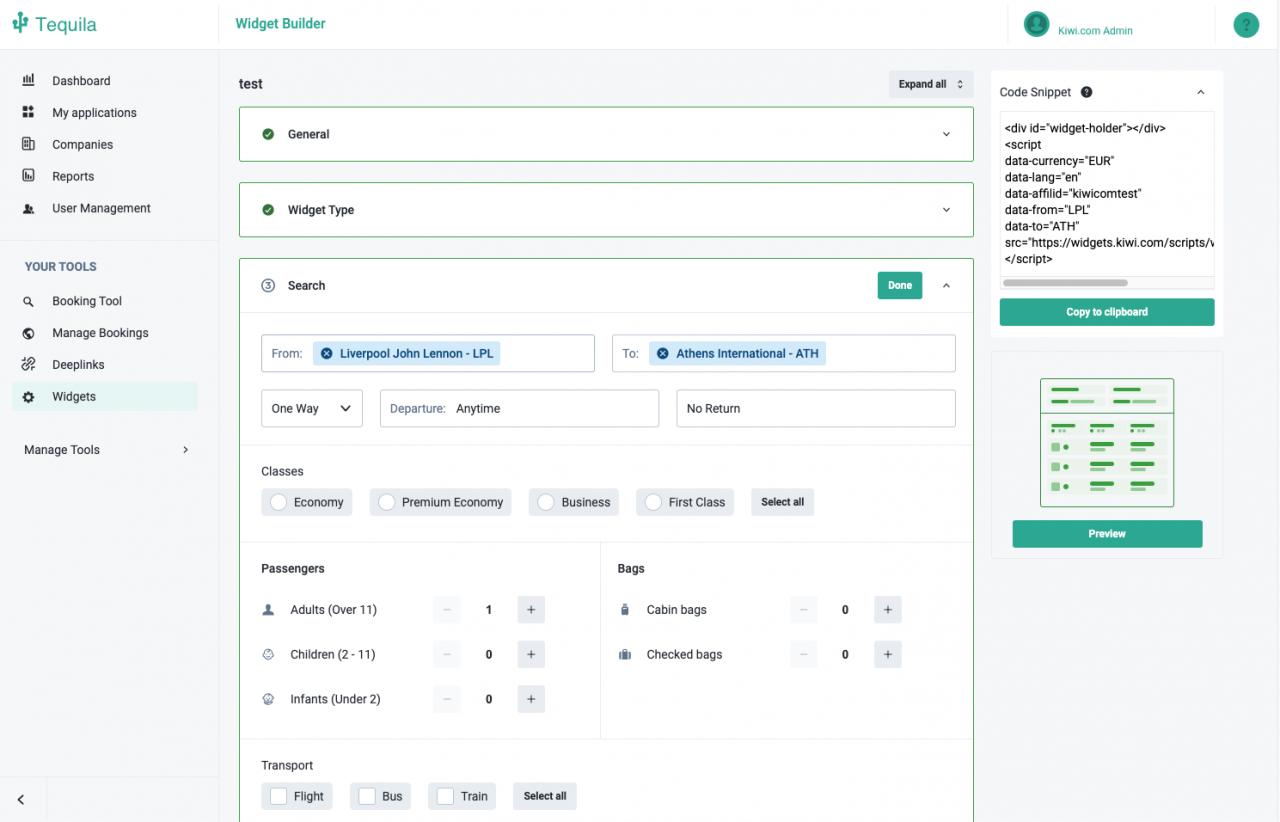 Kiwi.com widget builder in Tequila partner platform
